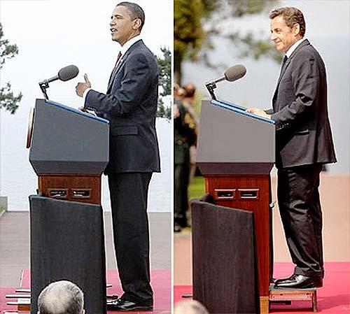 Diferencia de estaturas entre Barak Obama y Nicolás Sarkozy